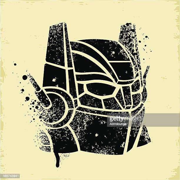 robot stencil - stencil stock illustrations