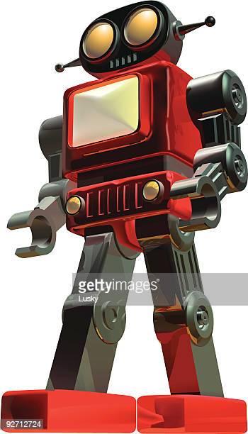 stockillustraties, clipart, cartoons en iconen met robot - nut bolt