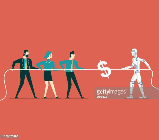 robot vs business people - defeat stock illustrations