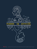 Robot vs human. AI artificial intelligence and human intelligence Concept business technology disruptive illustration. Vector line design to poster.