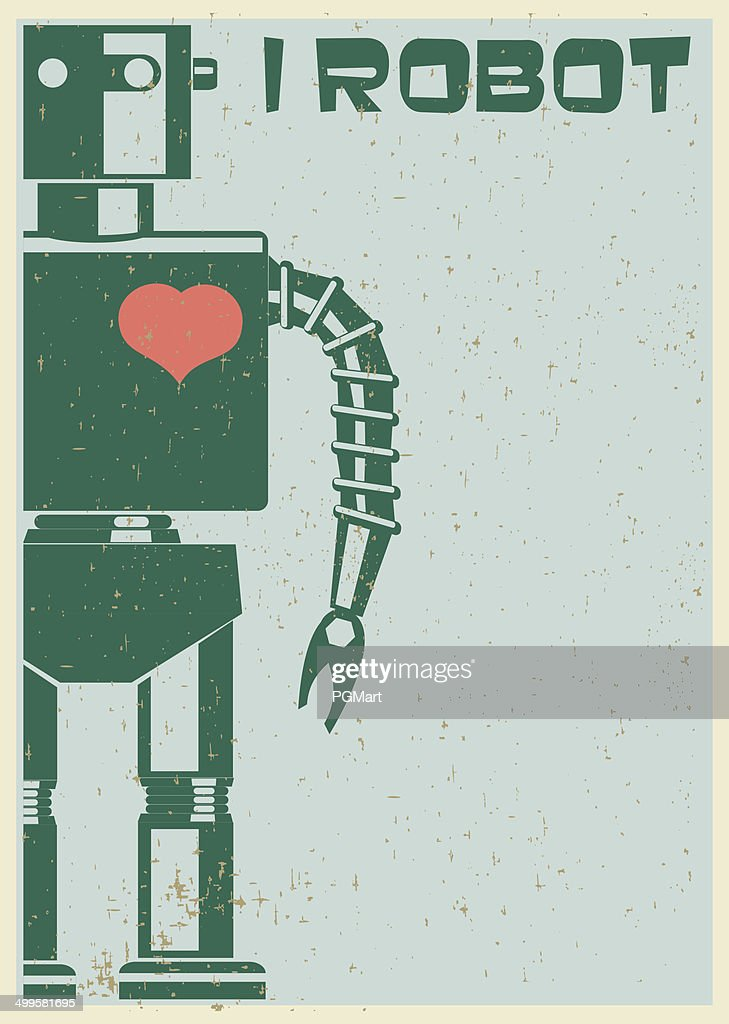 Robot With Heart On Chest, retro poster