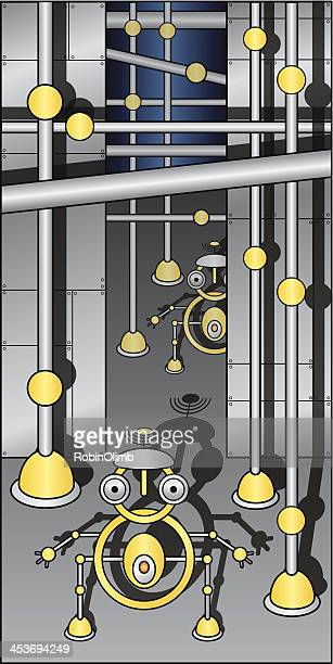 robot_water_plant - water treatment stock illustrations, clip art, cartoons, & icons