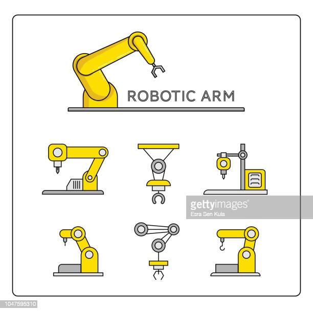 ロボット アームと 3 d プリンターのアイコンを設定 - 工業用ロボット点のイラスト素材/クリップアート素材/マンガ素材/アイコン素材