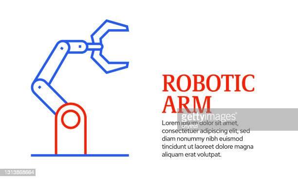 ロボットアームコンセプト、ベクトル線アイコンテンプレートデザイン - 機械アーム点のイラスト素材/クリップアート素材/マンガ素材/アイコン素材