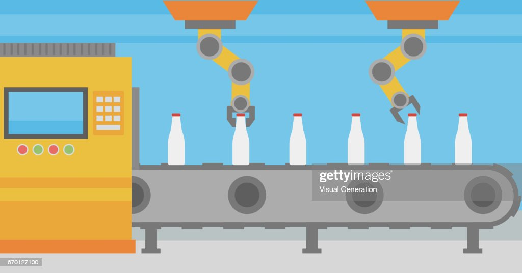 Robotic arm working on conveyor belt with bottles