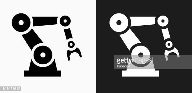 Robotic Hand Icon on Black and White Vector Backgrounds