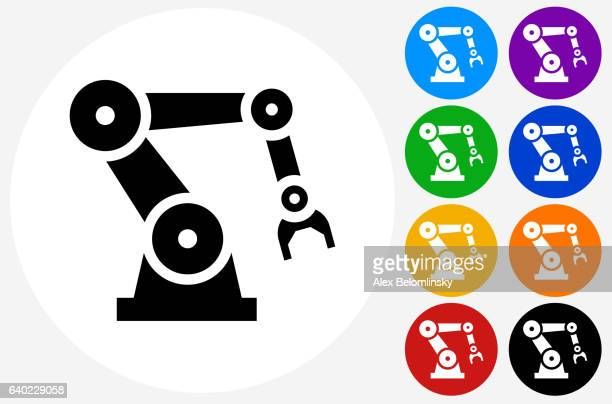 ilustraciones, imágenes clip art, dibujos animados e iconos de stock de robotic hand icon on flat color circle buttons - robot