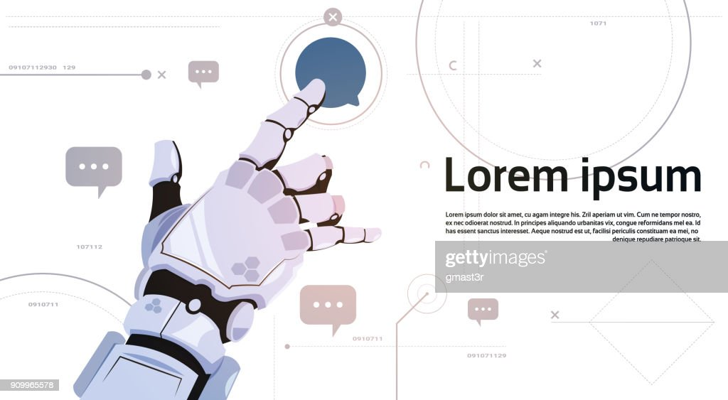 Robotic Hand Touch Chat Bubble Icon Robots Communication And Artificial Intelligence Concept