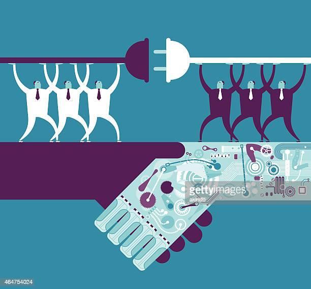 Robotergestützte Hände schütteln