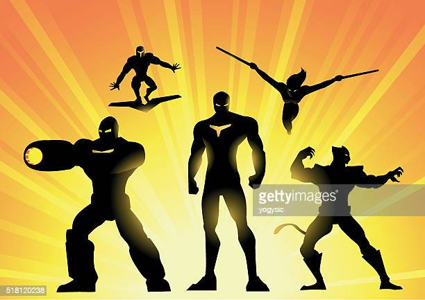 Robotic Superhero Team Silhouette