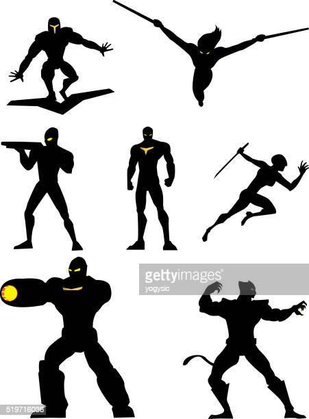 Robotic Superheroes Vector Set