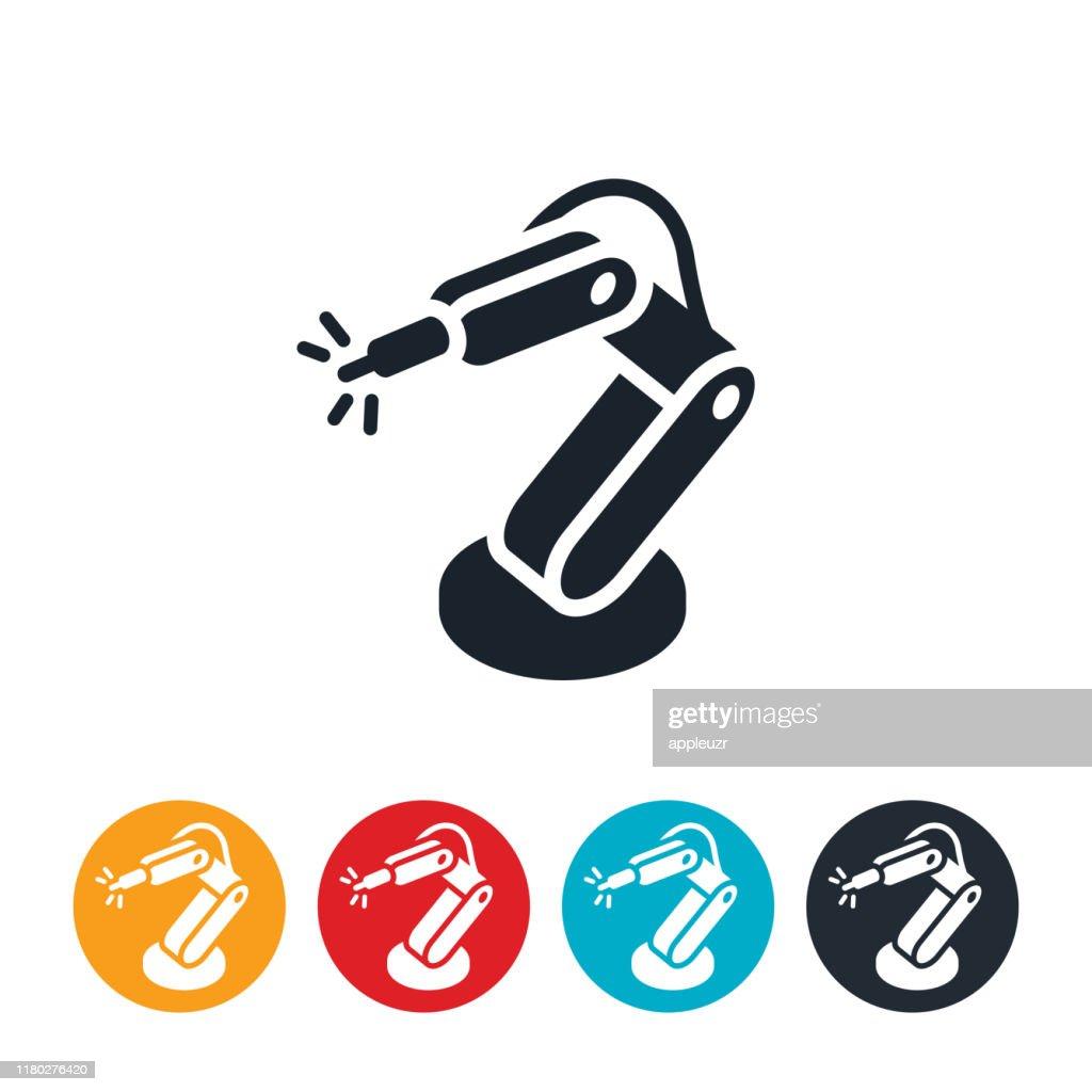 Icono del brazo de la robótica : Ilustración de stock