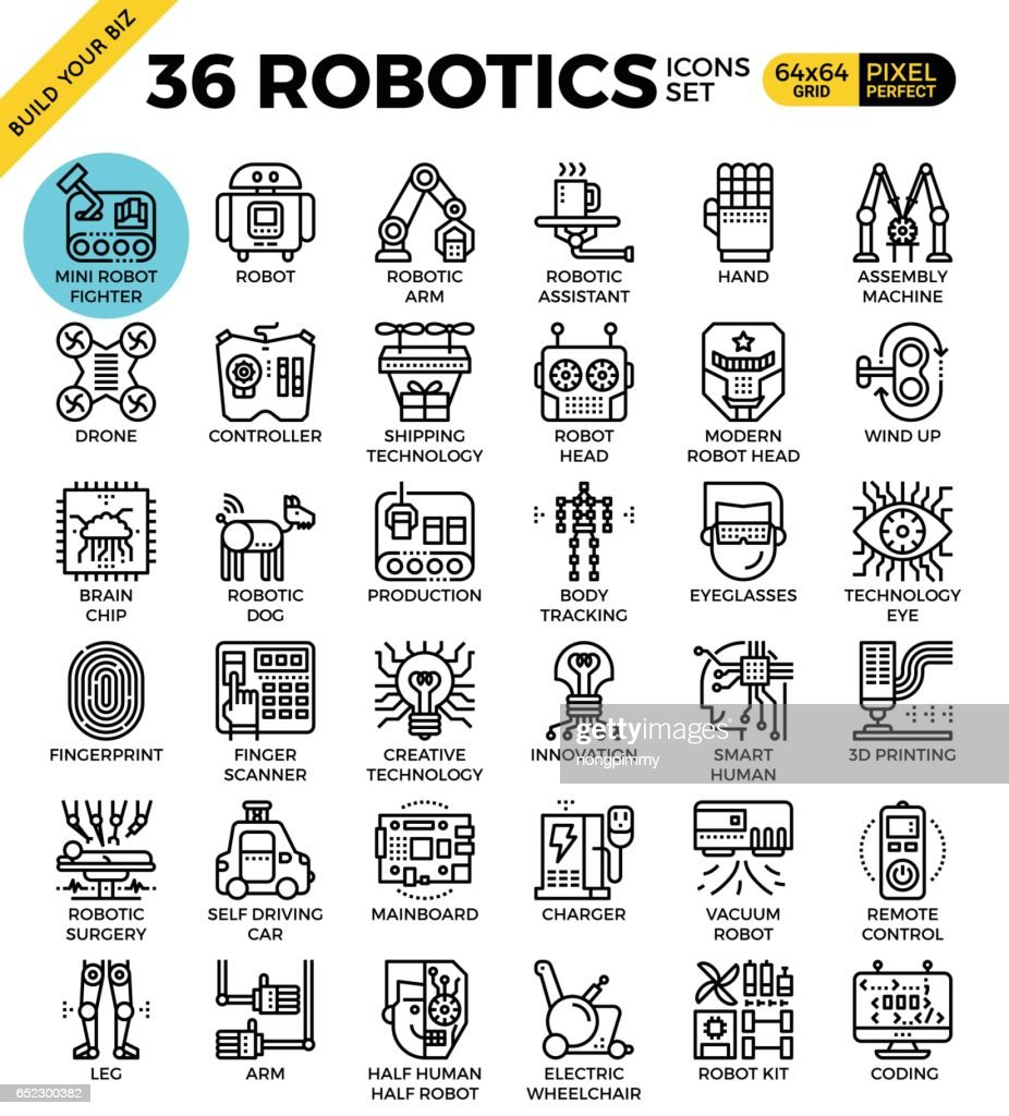 robotics icon set