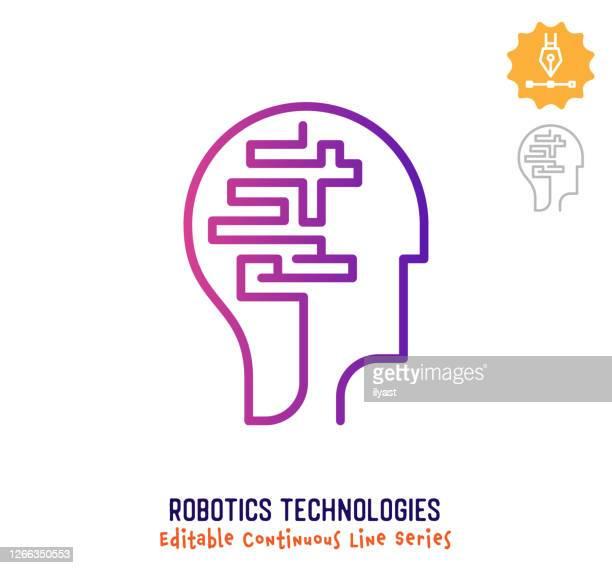 robotics technologies continuous line editable stroke icon - artificial neural network stock illustrations