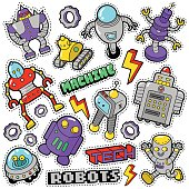 Robots and Machines Stickers, Badges, Patches
