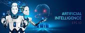 Robots man and woman with artificial intelligence working with virtual interface in cybernetic reality. Machine, learning. AI control global business process. Futuristic 3d vector illustration concept