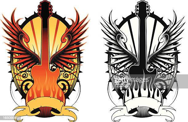 rock and roll guitar - rock music stock illustrations