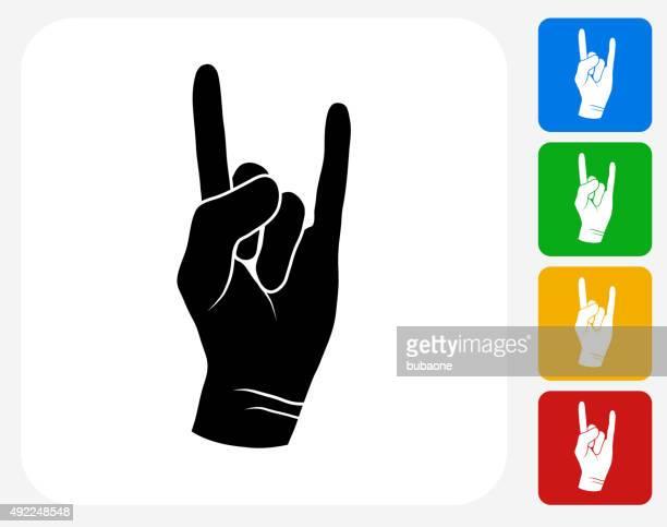 Rock and Roll Hand-Symbol flache Grafik Design