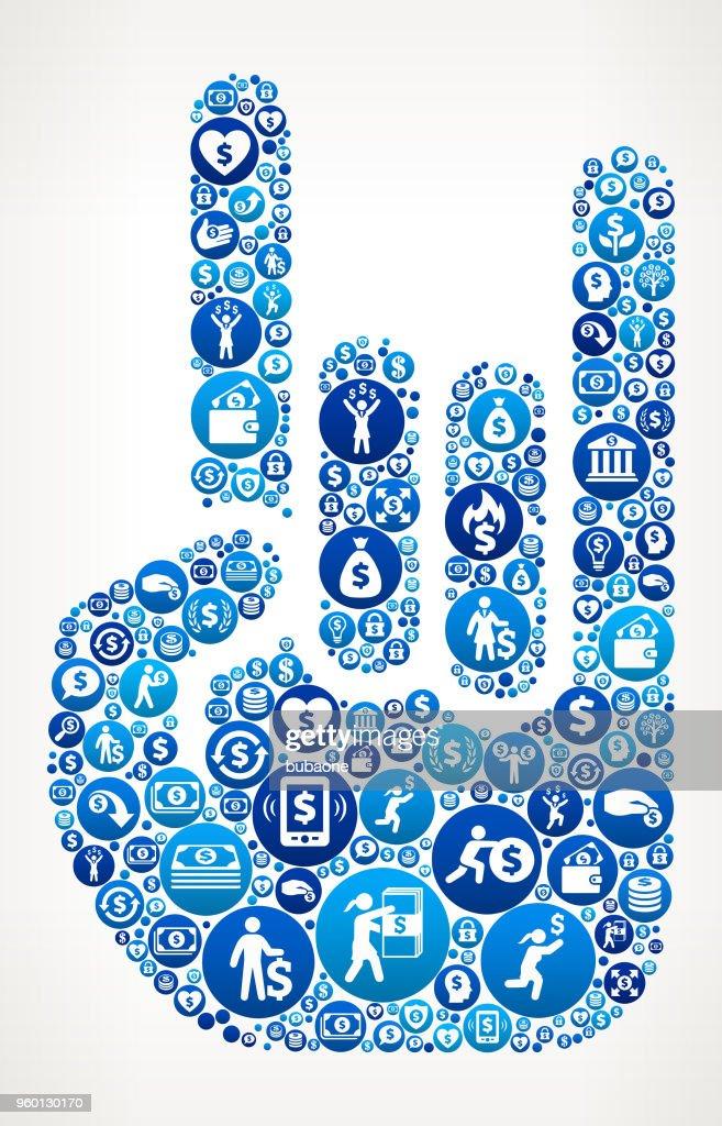 Rock And Roll Hand Geld blaues Symbol Muster Hintergrund : Stock-Illustration
