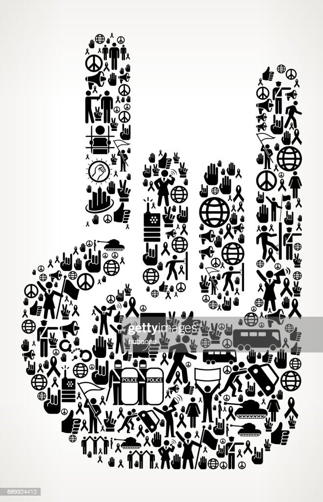 Rock and Roll Hand Protest and Civil Rights Vector Icon Background : Stock Illustration
