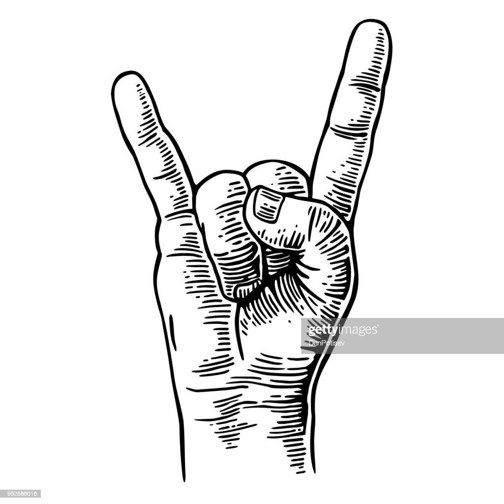 Rock and Roll hand sign. Vector black vintage engraved illustration.