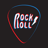 Rock and roll lettering on plectrum vector illustration