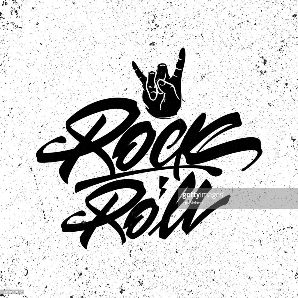 Rock and roll lettering poster. Vector graphic for t shirt.