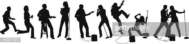 rock and roll performers - microphone stand stock illustrations