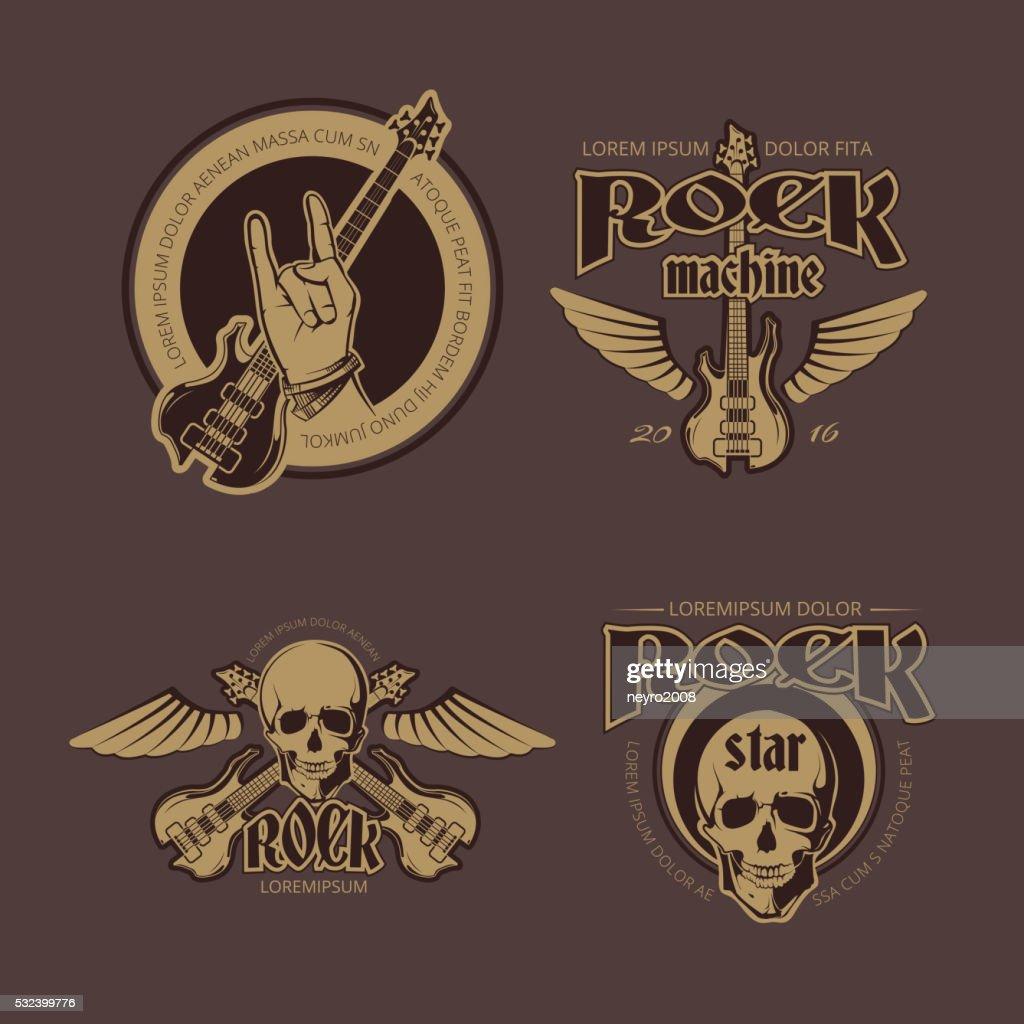Rock and Roll vector color vintage emblems