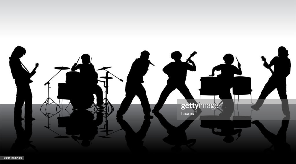 Rock band silhouette on stage