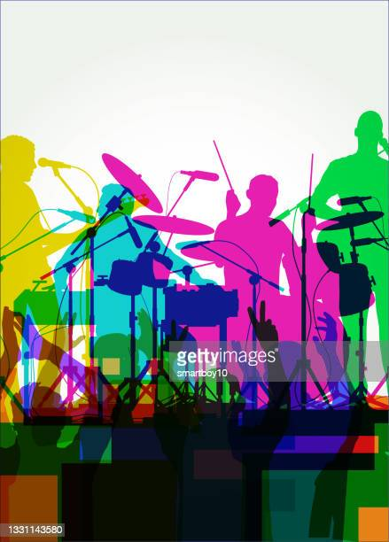 rock band - microphone stand stock illustrations
