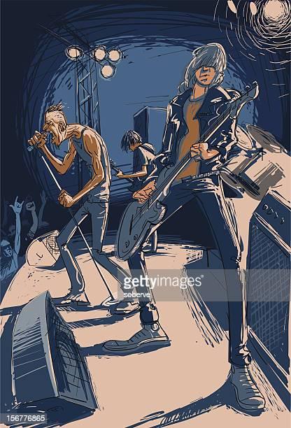 ilustraciones, imágenes clip art, dibujos animados e iconos de stock de banda de rock - bajo eléctrico