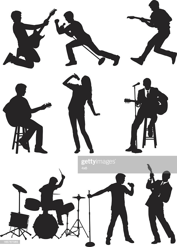 rock band vocals guitar and drums vector art getty images