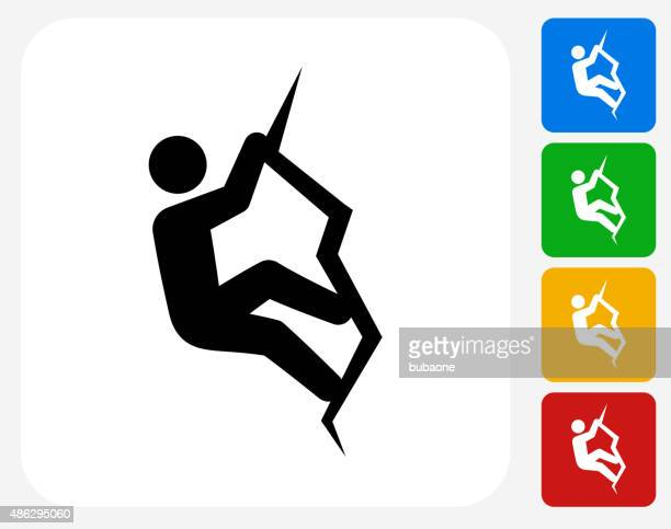 rock climbing icon flat graphic design - rock climbing stock illustrations, clip art, cartoons, & icons