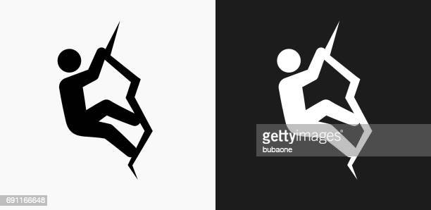rock climbing icon on black and white vector backgrounds - sport set competition round stock illustrations