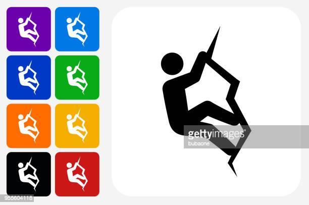 rock climbing icon square button set - rock climbing stock illustrations, clip art, cartoons, & icons