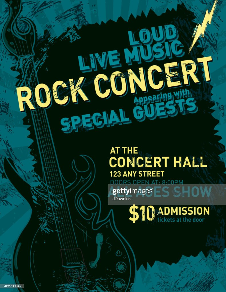 rock concert poster design template vector art getty images