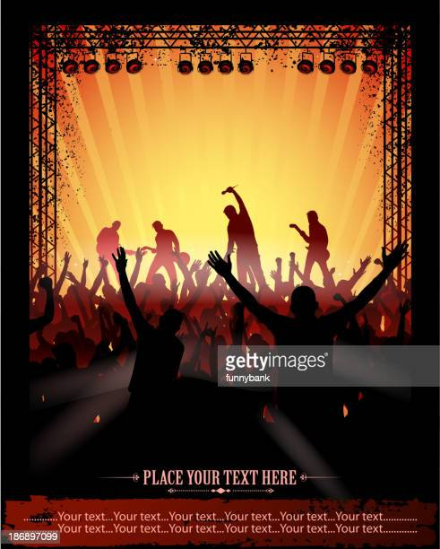 rock concert poster - stage light stock illustrations