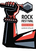 Rock concert poster with a microphone