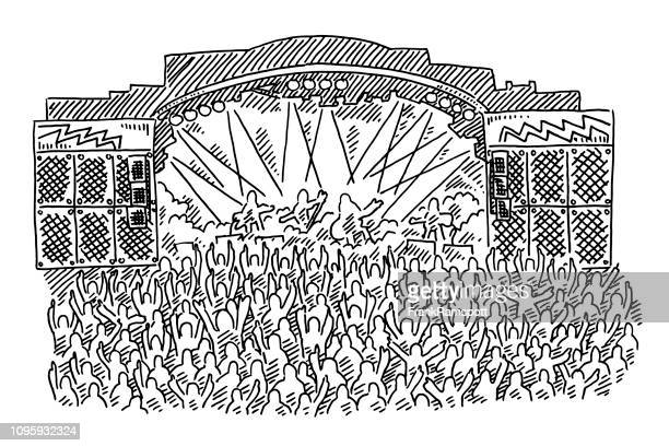 rock concert stage crowd drawing - rock object stock illustrations