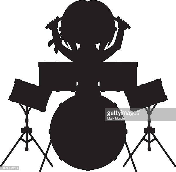rock drummer in silhouette - snare drum stock illustrations, clip art, cartoons, & icons
