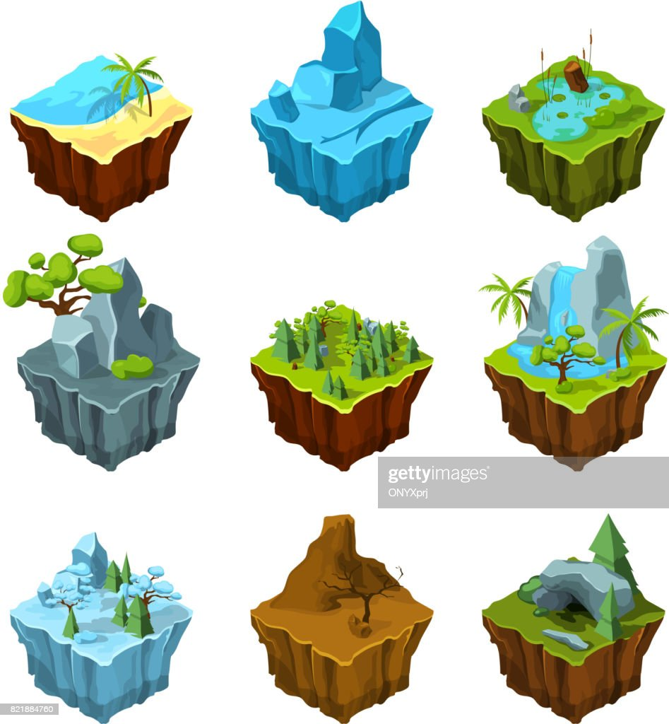 Rock fantasy islands for computer games. Isometric illustrations in cartoon style