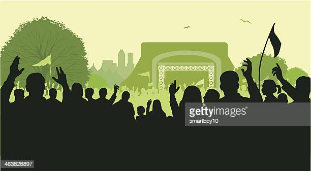 rock festival or concert - stage performance space stock illustrations