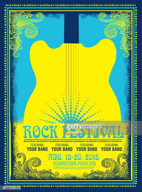 stockillustraties, clipart, cartoons en iconen met rock festival poster reclame - poster