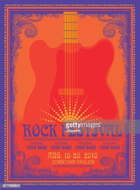 illustrazioni stock, clip art, cartoni animati e icone di tendenza di modello di design poster rock festival con chitarra elettrica - musica rock