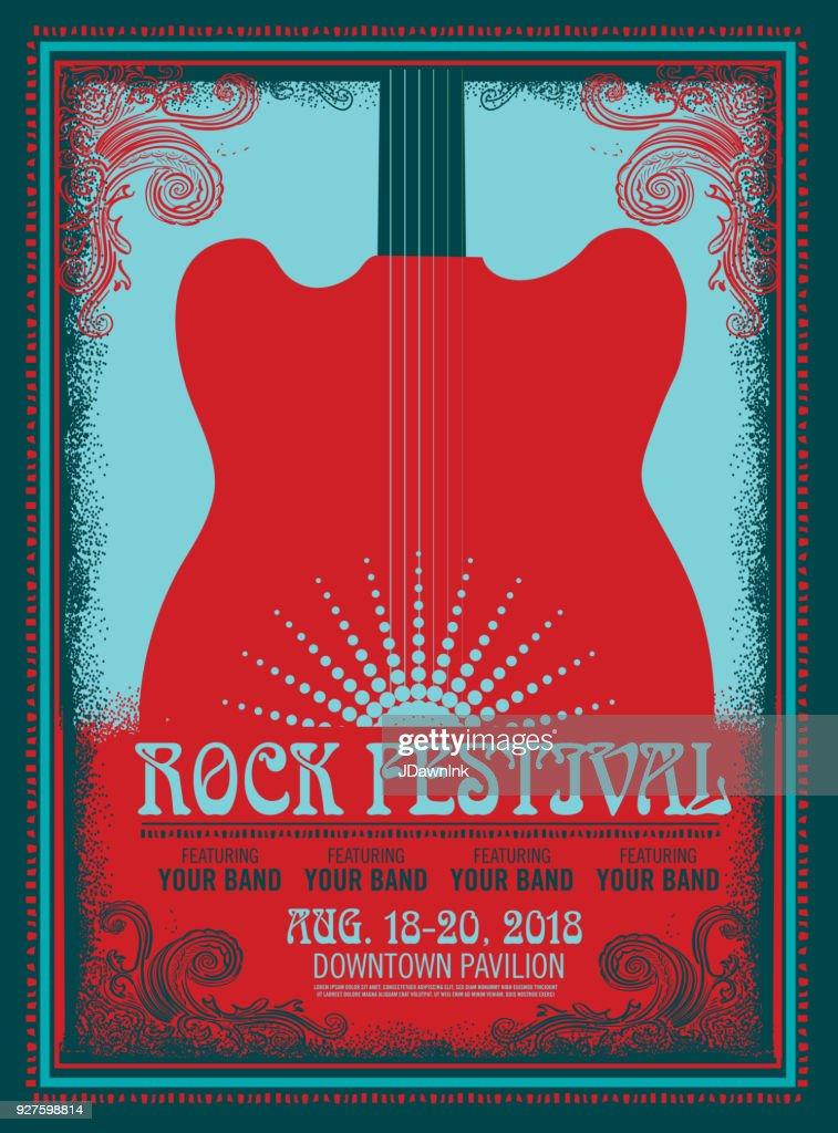 Rock Festival Plakat Design-Vorlage mit e-Gitarre : Stock-Illustration