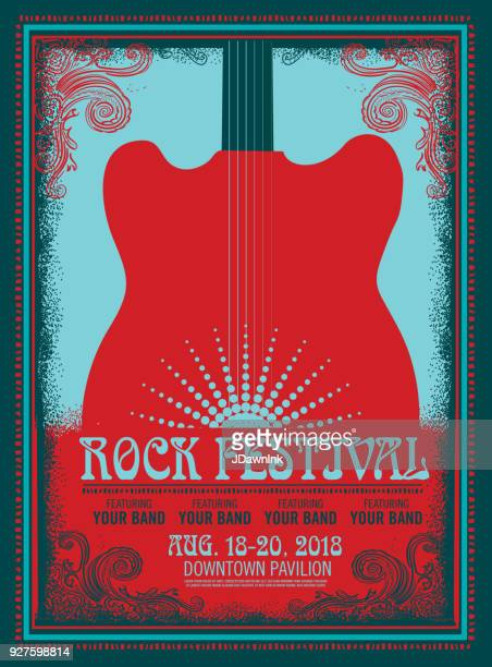 rock festival poster design template with electric guitar - electric guitar stock illustrations