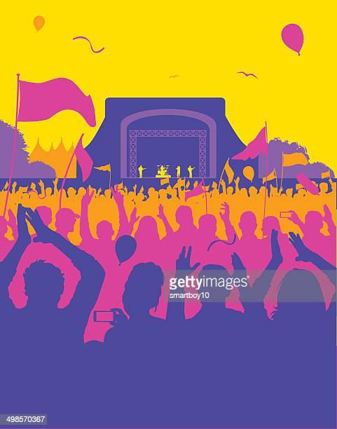 ilustrações, clipart, desenhos animados e ícones de festival de rock/show - performance
