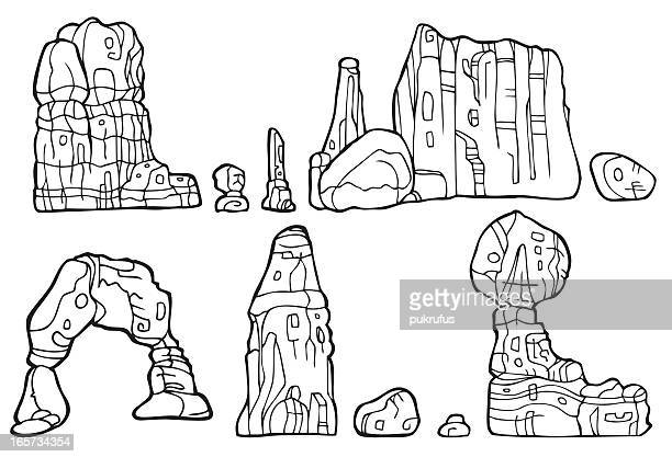 rock formation in black and white - natural arch stock illustrations, clip art, cartoons, & icons