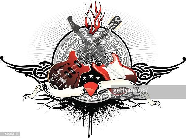rock guitar duel - electric guitar stock illustrations